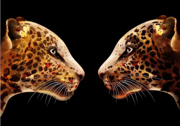 ヒョウの水彩画