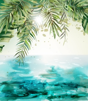青い海辺の夏の熱帯カードの水彩画