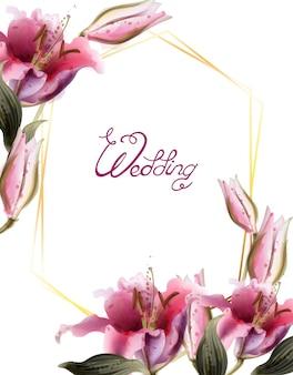 ピンクのユリの花の水彩画フレーム