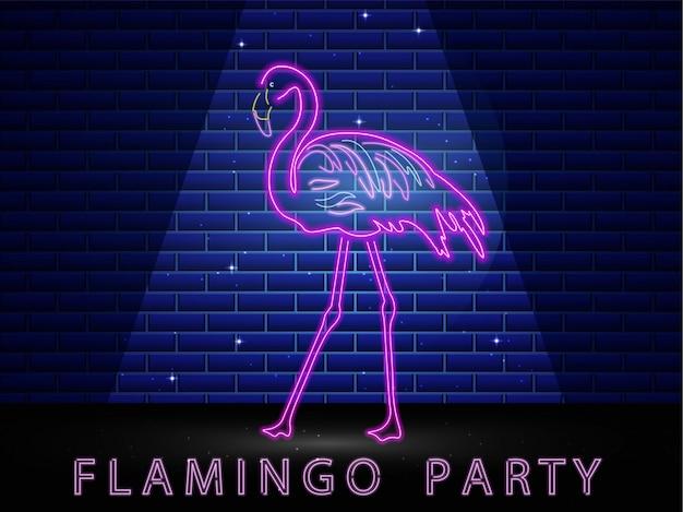 Неоновый фламинго сияющий баннер