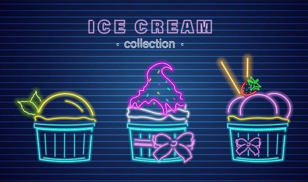 Чашки мороженого неоновые