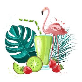 Летний тропический фламинго и фруктовый коктейль