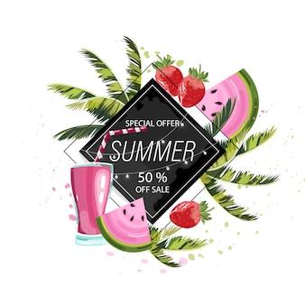 夏のトロピカルフルーツとドリンク