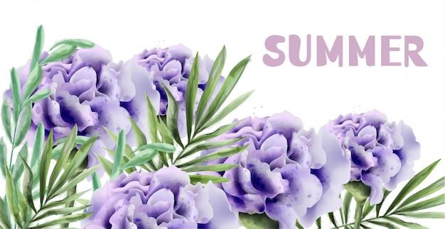 水彩画の紫色のバラ