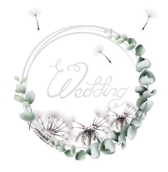水彩の丸い花輪タンポポ