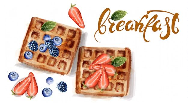 水彩画のワッフル朝食