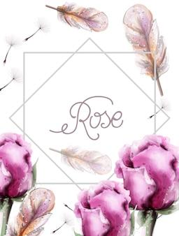 バラの花の花束の水彩画