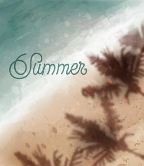 夏の熱帯の海辺の水彩画