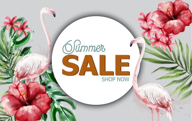 Летние тропические цветы и фламинго в акварели