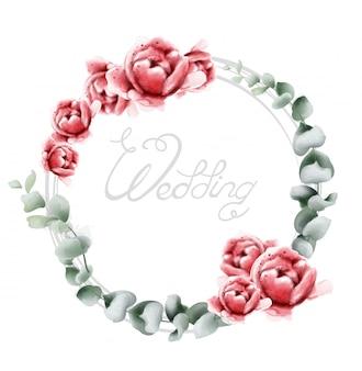 結婚式の花輪のバラの水彩画