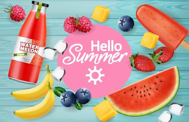 夏の果物とジュースのテクスチャ
