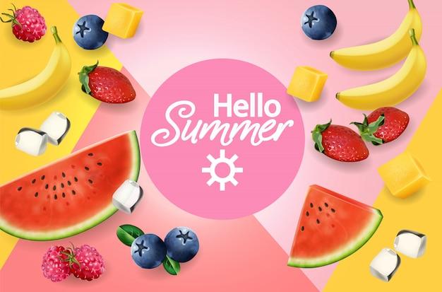 Летние фрукты абстрактный фон