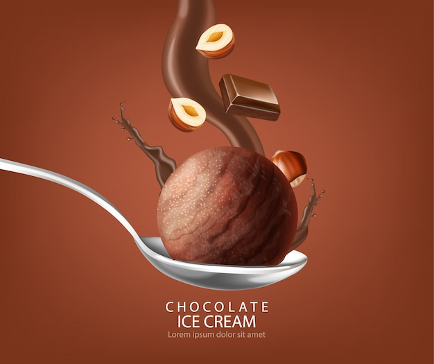 Шоколадный шарик с мороженым