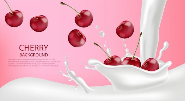 Всплеск молока с вишневым фоном