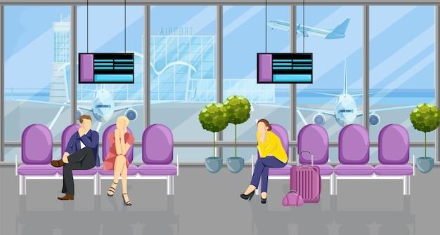 Люди в аэропорту в ожидании рейса
