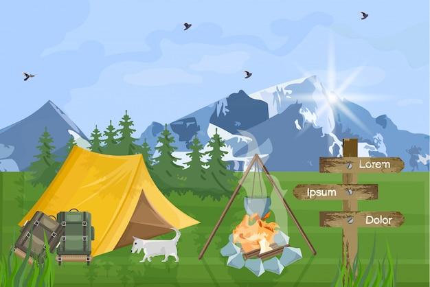 山を背景にしたキャンプ