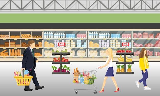 スーパーマーケット店の人々
