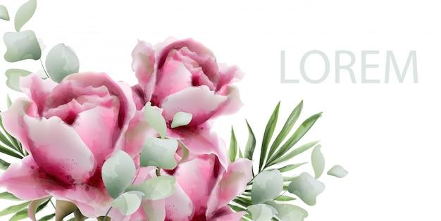 Пионы акварель экзотический цветочный фон