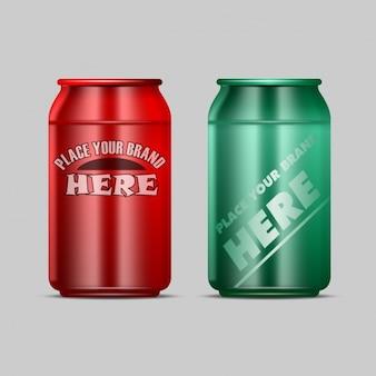 飲み物のための二つの缶