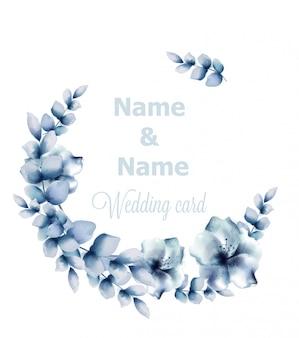 青い花のフレームの水彩画