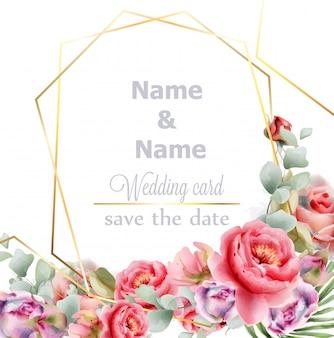 結婚式のフレーム牡丹水彩画
