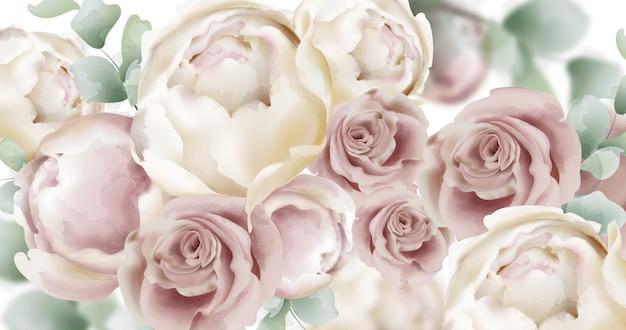 Розы акварельный фон