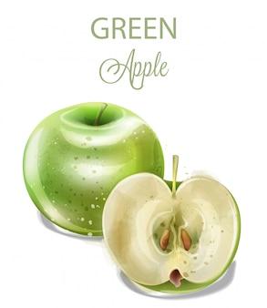 Зеленое яблоко, акварель