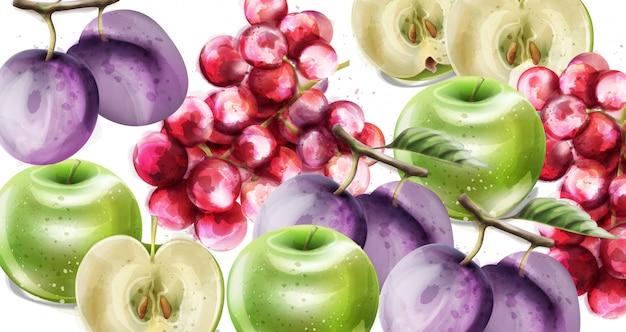 夏の果物ベクトル水彩画パターン