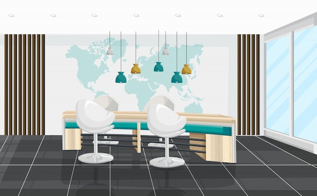 オフィスデスクと椅子の会議室。ビジネスセンター、コールセンター、銀行またはテクノロジーハブのインテリア