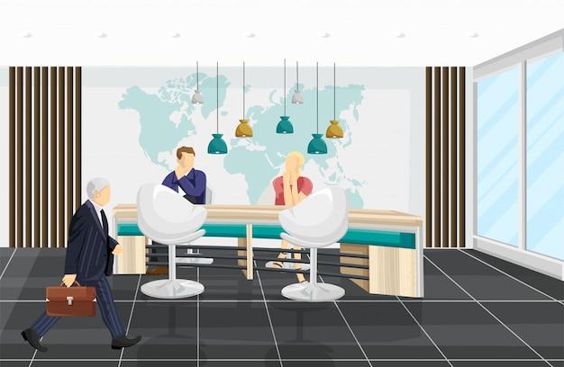 ビジネスセンターの図。プロジェクトについて議論する人々。コールセンター、銀行、またはテクノロジーハブのフラットスタイル