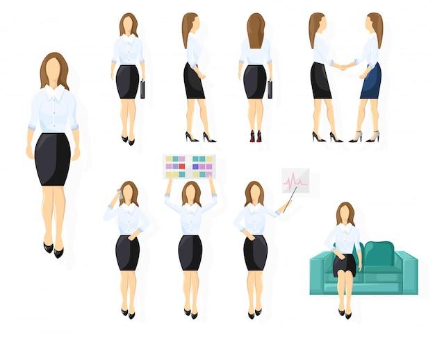 ビジネス女性キャラクターデザインセット。さまざまなビュー、ポーズ、ジェスチャーを持つ女性。フラットスタイルの孤立した人