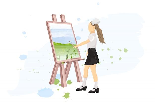 スクールガール絵画創造性レッスンフラットスタイル。学校に戻る