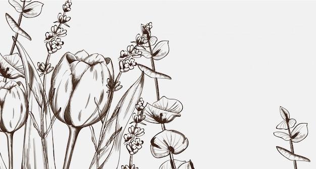 チューリップの花のラインアート
