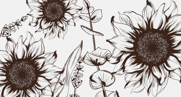 ひまわりラインアート。手描きの装飾テクスチャビンテージスタイル