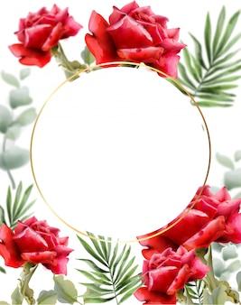 赤いバラの水彩画の挨拶。ヴィンテージの花のフレームの装飾。エキゾチックな背景の葉の図