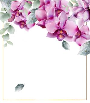 蘭の花の水彩画とゴールデンフレーム。美しい花の装飾フレーム。ゴールデンテキスト