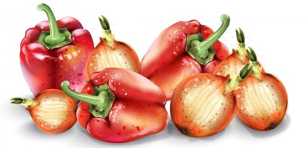 野菜の水彩画。おいしいトマト、赤唐辛子、玉ねぎ。夏の健康食品