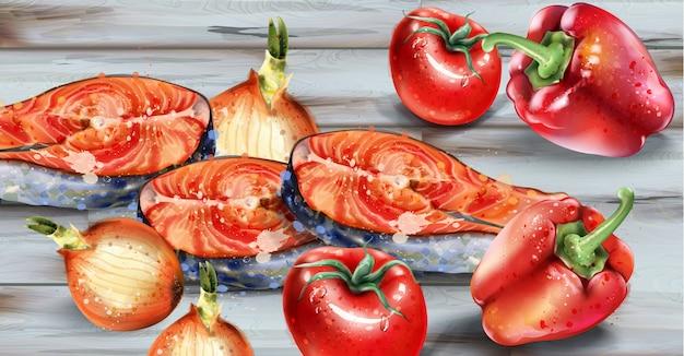サーモンと野菜の水彩画。新鮮な魚、タマネギ、コショウ木製