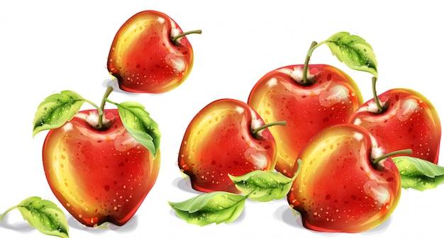 リンゴの水彩画。カラフルな果物。秋の収穫の図