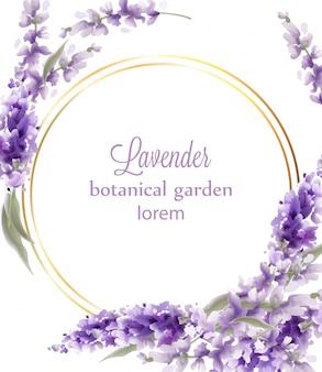 ラベンダーゴールドリースフレーム水彩背景。ビンテージスタイルの花束と丸い円