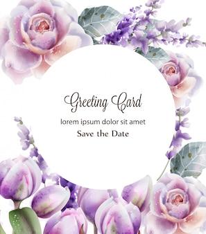 ローズとチューリップカードの水彩画。春夏の花の花束。フレームの背景
