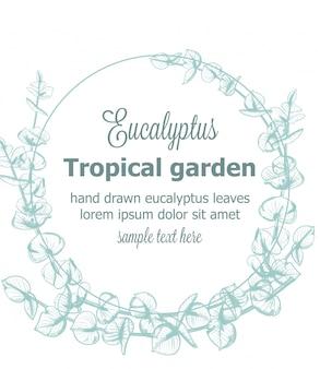 ユーカリの花輪ビンテージラインアート花装飾フレーム背景テンプレート