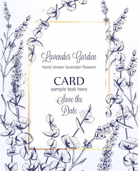 ラベンダーのウェディングカードの招待状のテンプレート、ビンテージラインアート