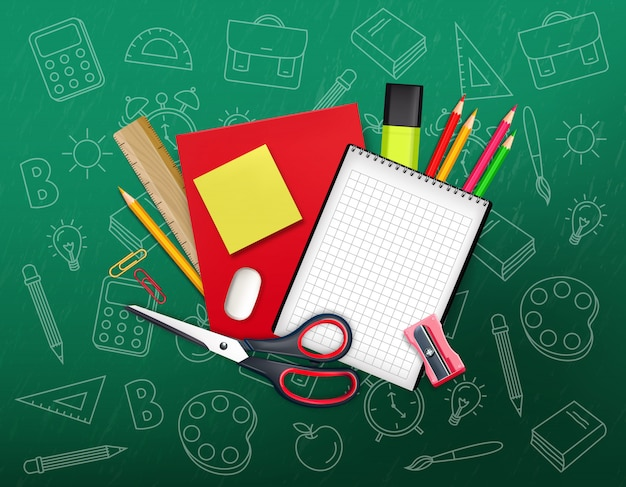 学校に戻る創造的な構成
