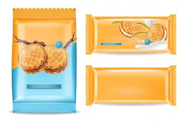 チョコレートクッキーパッケージのモックアップ