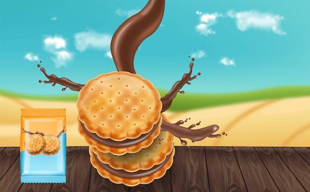 チョコレートクリームクッキーのモックアップ