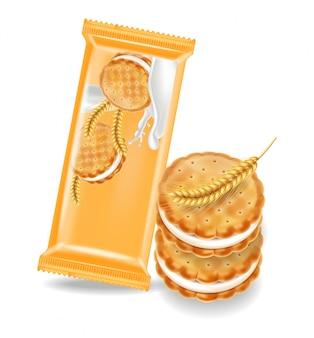 Ванильное кремовое печенье макет