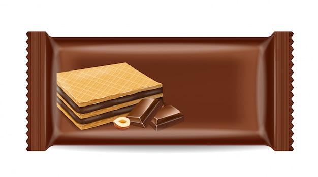 チョコレートワッフルクッキーパッケージのモックアップ