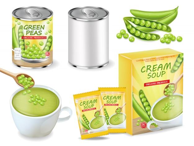 グリーンピースのスープと缶の現実的なコレクション