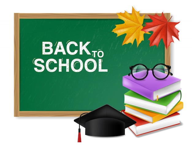 緑の黒板と本の山で学校に戻る